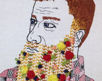 Man with Beard Hand Embroidered Wall Art; Flowered Beard Hoop Art