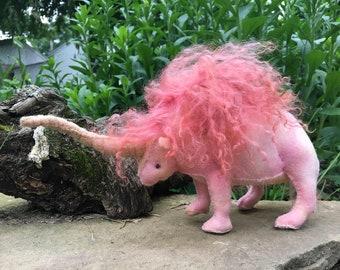 Ella Elasmotherium, the first unicorn, hand sewn toy, prehistoric animal, soft toy