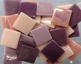 Purple Passion Mix Ottoman Glass Tiles, 25 mm (1 inch) Purple Mosaic Glass Tiles, 10 or 20 Glass Mosaic Tiles