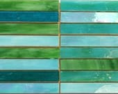 Turquoise Slivers, Tiffany Style Precut Glass for Mosaics or Stained Glass - 24 pieces