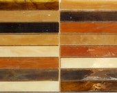 Brown Leather Slivers, Tiffany Style Precut Glass for Mosaics or Stained Glass - 24 pieces
