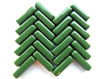 Lush Green Stix, Glass Rectangles for Mosaics, 20x6x5 mm, pkg of 25 or 50