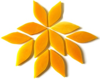 Mango Nectar SMALL Stained Glass Petal Shapes for Mosaics or Stained Glass, 12 or 24 Mosaic petals