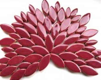 Merlot Hi Fired Ceramic Tile Petals for Mosaics 24 or 48 Tiles