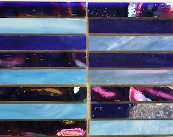Blue Lagoon Slivers, Tiffany Style Pre-cut Stained Glass, Mosaics or Stained Glass Tiles - 24 Sliver Tiles