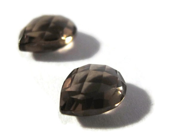 Two NON DRILLED Gemstones, Matching Smoky Quartz Teardrops for Making Jewelry & Setting, 8x6mm, Brown Gems (Luxe-Nd5)