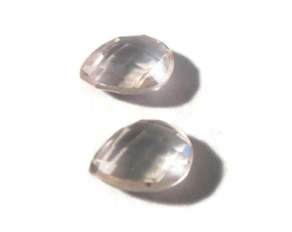 Two NON DRILLED Gemstones, Matching Rose Quartz Teardrops for Making Jewelry & Setting, 8mm x 6mm (Luxe-Nd5)