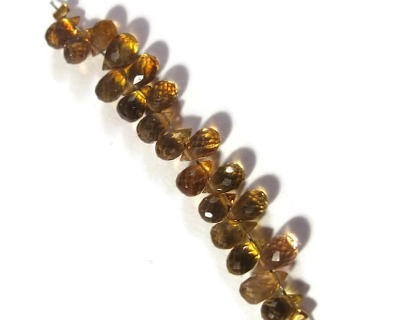 20 Tourmaline Beads, Natural Gemstones, Petrol Tourmaline Faceted Briolettes, 6x3mm Twenty Stones for Making Jewelry (Luxe-Tou3b)