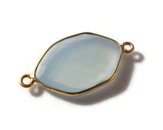 One Blue Gemstone Pendant, Light Blue Chalcedony Gemstone Charm, Gold Plated Bezel, 26mm x 14mm, Jewelry Supplies (C-Ch1b)