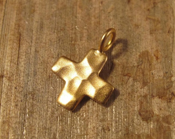 Gold Cross Charm, Hammered Cross Charm, 24k Gold Plated over Sterling Silver Pendant, Small Cross Charm, Vermeil (CH 2354)
