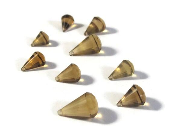 Nine Beer Quartz Beads, Natural Gemstones, Chandelier Cut, 9 Gemstone Briolettes, 8mm x 6.5mm - 13mm x 8mm, Jewelry Supplies (Pt-Bq2c)