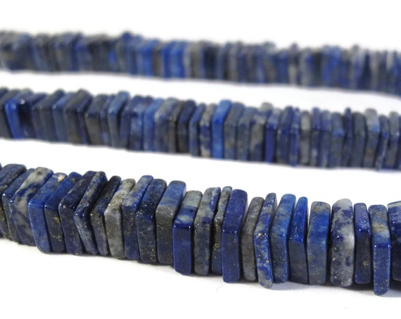 Lapis Heishi Beads, 8 Inches of Natural Gemstone Beads, Square Lapis, 8mm x 8mm, Jewelry Supplies (S-Lap3a)