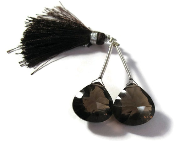Two Smoky Quartz Beads, 2 Large Natural Gemstone Briolettes, Matched Pair of Dark Brown Teardrop Stones for Making Jewelry (PT-Sq8)