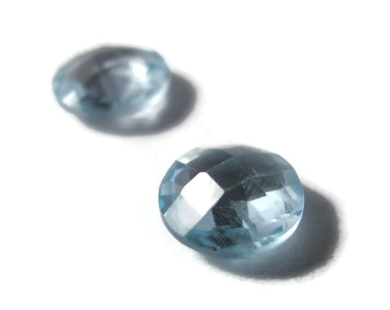 Two NON DRILLED Blue Topaz Gemstones, Matching Round Blue Stones for Making Jewelry & Setting, 8x4mm Teardrop Gemstone (Luxe-Nd1b)