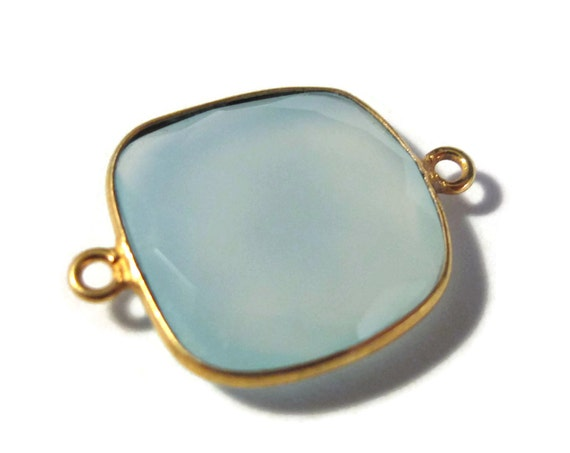 One Pale Blue Gemstone Pendant, Light Blue Chalcedony Gemstone Charm, Gold Plated Bezel, 23.5mm x 18.5mm (C-Ch5)