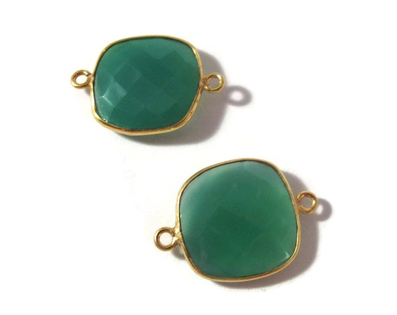 2 Green Onyx Pendants, Matched Pair of Gold Plated 22mm x 16mm Square Bezel Pendants with Two Loops (C-Go3)