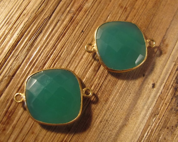 2 Green Onyx Pendants, Matched Pair of Gold Plated Irregular 23mm x 17mm Square Bezel Pendants with Two Loops (C-Go4a)