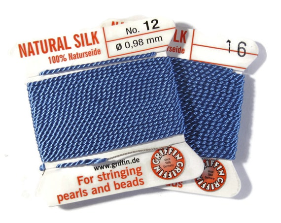 Size 12 or 16 : Sky Blue Cord, 100% Silk Cord with Built-In Stainless Steel Needle for Jewelry & Hand Knotting, 2 Yard Spool