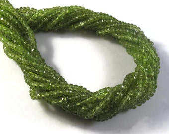 Peridot Rondelle Beads, 6 Inch Strand, 3.5mm - 3mm Natural Gemstones, August Birthstone, Rondelle Necklace, Jewelry Supplies (R-Pe2)