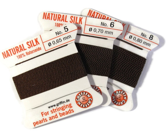 Size 5, 6 or 8 : Dark Brown Cord, 100% Silk Cord with Built-In Stainless Steel Needle for Jewelry / Hand Knotting, 2 Yard Spool, Supplies