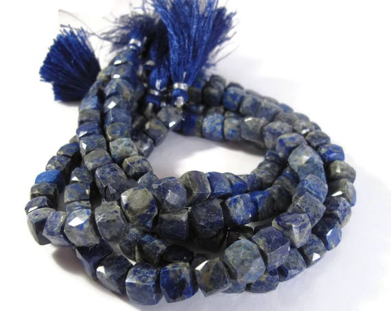 Lapis Faceted Cube Beads, 4 Inches of Natural Gemstone Beads, Blue Gemstone Cubes, 7mm x 7mm, Natural Gemstone, Jewelry Supplies (S-Lap1b)
