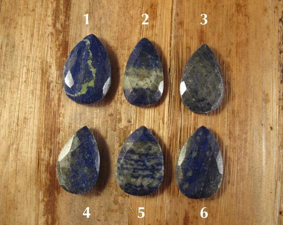 One Lapis Bead, Lapis Lazuli Focal Bead, Briolette Pendant, Natural Lapis Lazuli, 30mm x 19mm, Jewelry Supplies (B-Lap2b)