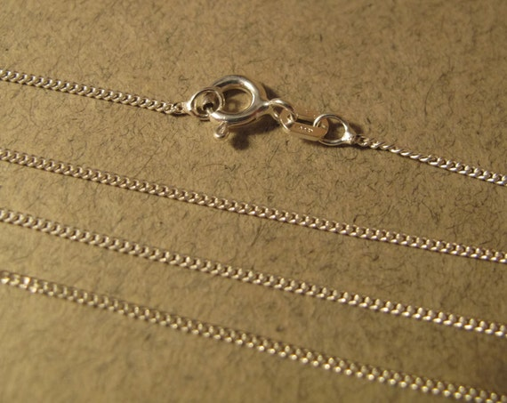 16 Inch Curb Chain, Thin Simple Chain, Delicate Finished Chain with Spring Ring Clasp, .925 Sterling Silver 1.1mm Chain