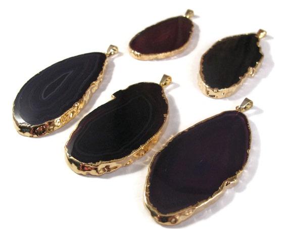 Purple Gemstone Pendant, Dark Purple, Gold Plated Agate Gemstone Charm, Smooth Agate Pendant for Jewelry (C-Ag12)