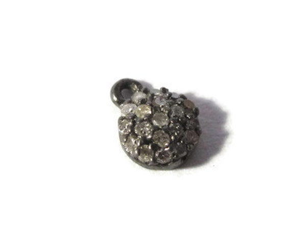 Tiny Diamond Charm, Pave Set Diamond Pendant, .925 Sterling Silver Round Diamond Charm, 7mm Charm for Jewelry (C-Di2)