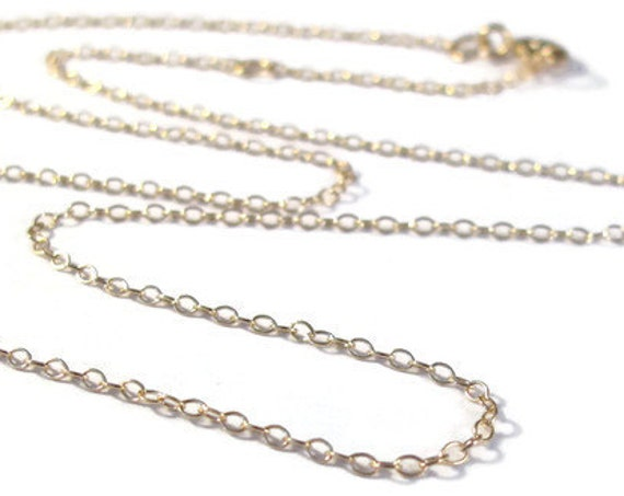 Plain Gold Chain, Gold Cable Chain with Clasp, Gold Filled 16 Inch Finished Chain with One Inch Extender, Everyday Simple Necklace
