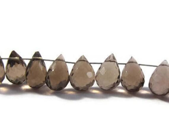 Ten Smoky Quartz Beads, 10 Natural Gemstone Briolettes for Making Jewelry, 7.5mm x 5mm - 8mm x 6mm (B-Sq6f)