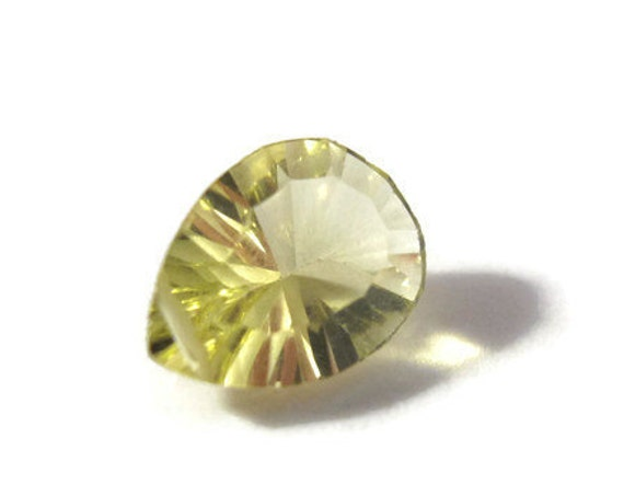 One Sunny Lemon Quartz Bead, Single Natural Gemstone, AAA Yellow Concave Cut Teardrop for Making Jewelry, 12mm x 8mm (Luxe-LQ4)