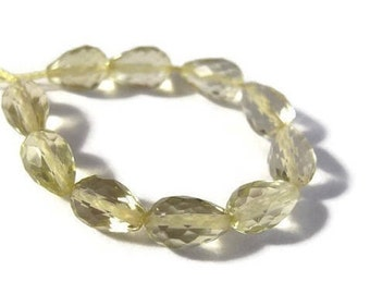 10 Lemon Quartz Beads, Long-Drilled Faceted Briolettes, 5x4mm-7x4mm, Ten Light Yellow Gemstones for Jewelry Making (L-Lq5b)