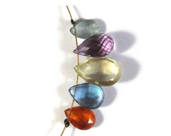 Gemstone Briolette Mix, Five Beads, Apatite, Amethyst, Spessartite, Blue Topaz and Lemon Quartz Beads for Making Jewelry (B-Mix17b)