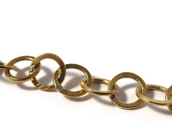 Circle Brass Chain - Brass Chain By The Foot, Awesome Golden Brass Chain for Making Jewelry 9mm x 9mm Links (c872a-bca)