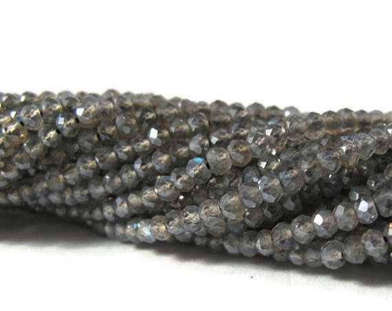 Coated Labradorite Beads, Faceted Gemstone Rounds, 6.5 Inch Strand, Small Gemstones for Making Jewelry, 2.2mm - 2.5mm (R-Lab4)