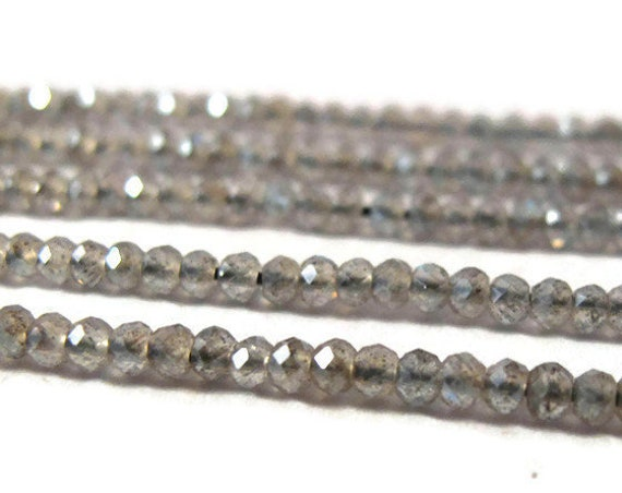 Coated Labradorite Beads, Faceted Gemstone Rounds, 13 Inch Strand, Small Gemstones for Making Jewelry, 2.2mm - 2.5mm (R-Lab4)