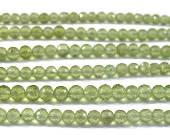 Natural Peridot Beads, Round Faceted Gemstones, Green Gemstones, August Birthstone, 4mm, 8 Inch Strand, August Birthstone