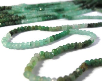 Chrysoprase Rondelles, 3.8mm, Shaded Green Gemstone Beads, 7 Inch Half Strand, Jewelry Supplies (R-Ch5a)