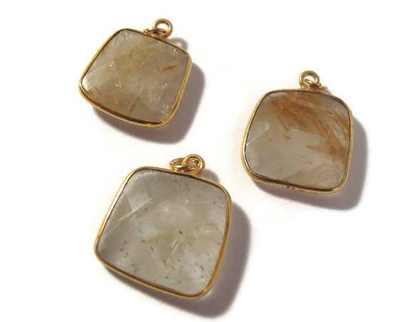 One Gemstone Charm, Golden Rutile Quartz with Gold Bezel, Natural Gemstone Charm, 17.5x14.5mm -  19x16mm (C-Qu2)
