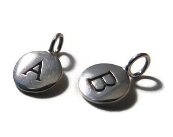 Round Initial Charms, Sterling Silver Letter Charms, Shiny Silver Alphabet Pendants for Making Jewelry (A4)