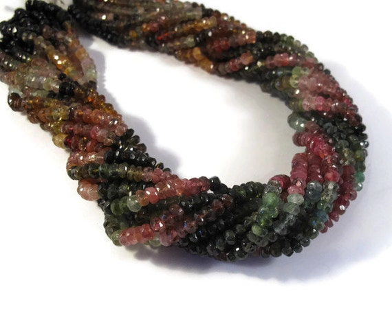 Multi Tourmaline Beads, Faceted Rondelles, 4mm - 5mm Natural Gemstones, Over 140 Beads, 14 Inch Strand (R-Tou6)
