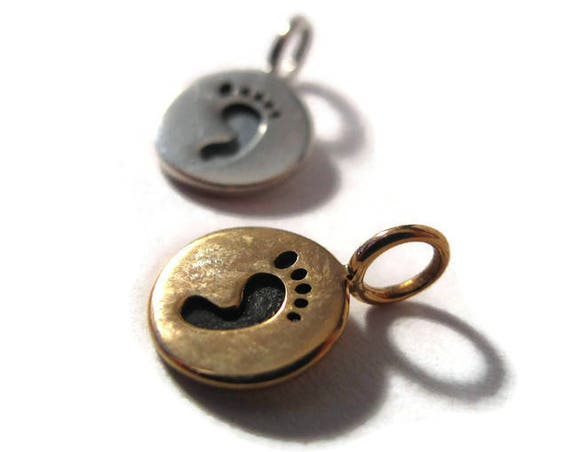 Little Footprint Charm, .925 Sterling Silver or Natural Bronze Round Stamped Disk Pendant, 8mm Charm for Jewelry Making, Charm Bracelet