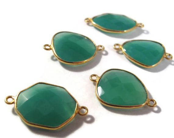 Natural Green Onyx Pendant, Gold Plated Gemstone, Irregular Bezel Set Charm, Double Looped Charm for Making Jewelry (L-Mix21j)