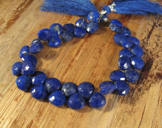 Lapis Lazuli Gemstone Beads, 4 Inch Strand of Natural Lapis Briolettes, 9.5mm x 9.5mm, Blue Beads for Making Jewelry (Luxe-Lap1c)