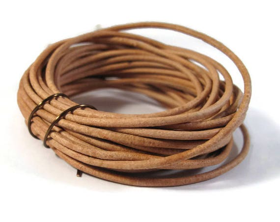4.25 Yards of Natural Tan Leather Cord, 2mm Round Cord For Jewelry, Craft Supplies
