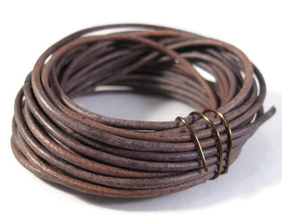 Natural Gray Leather Cord, 2mm, 5 Foot Coil of Natural Round Brown Leather for Jewelry Making, Necklace, Wrap Bracelets
