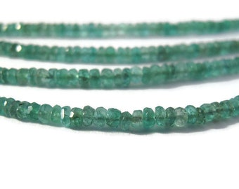 Natural Emerald Beads, 14 Inch Strand of Non Treated Faceted Rondelles, 3mm, Natural Gemstones for Jewelry Making (Luxe-Em1a)