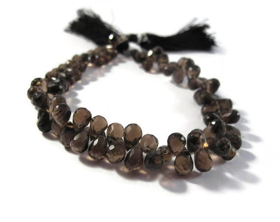 Smoky Quartz Beads, 8 Inch Stranf of Round Briolettes, Natural Gemstone Briolettes for Making Jewelry, 6.5mm x 5mm - 8mm x 5mm (B-Sq6a)