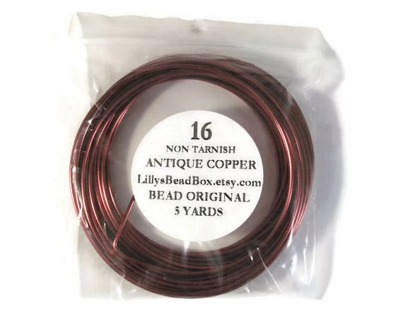 Antique Copper Wire - 16 Gauge Round Wire for Making Jewelry, Non Tarnish Wire, Wire Wrapping Supplies, 5 Yard Spool